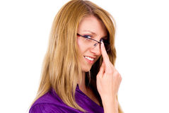 Beautiful girl corrects glasses Stock Photography