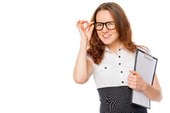 Beautiful girl corrects by hand glasses portrait Stock Photo