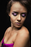 Beautiful girl in corset and mask  with bright makeup . Stock Images