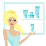 Beautiful girl and cosmetic Stock Photo