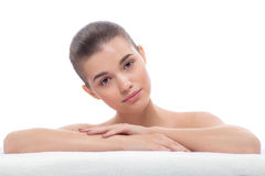 Beautiful girl after cosmetic procedures, face lift, visiting beautician, massage. Royalty Free Stock Photo
