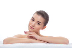 Beautiful girl after cosmetic procedures, face lift, visiting beautician, massage. Royalty Free Stock Image