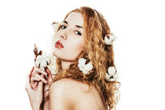 Beautiful girl with cotton plant Stock Photo
