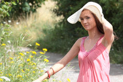 A beautiful girl in the country Stock Photo