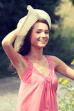 A beautiful girl in the country royalty free stock photography
