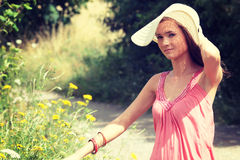 A beautiful girl in the country royalty free stock photo