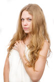 Beautiful girl, covered with white cloth. Royalty Free Stock Photography
