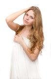 Beautiful girl, covered with white cloth. Stock Photos