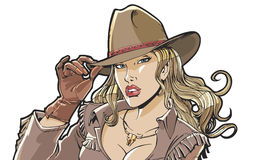 Beautiful girl cowboy hat and clothing. Superhero, movie star, model royalty free illustration
