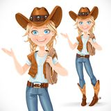Beautiful girl in a cowboy hat and with lasso says something Royalty Free Stock Images