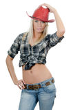 The beautiful girl in a cowboy's hat Royalty Free Stock Images