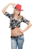 The beautiful girl in a cowboy's hat Royalty Free Stock Photos