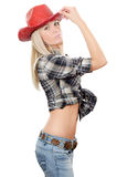 The beautiful girl in a cowboy's hat Stock Photos