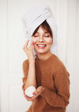 Beautiful girl with cream. Beautiful girl with cream after bath with pure skin Stock Photography