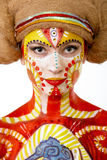 Beautiful girl with creative bodyart Stock Images