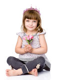 Beautiful girl with a crown on his head and a bouquet in her hands Royalty Free Stock Images