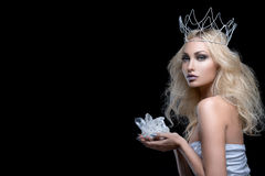 Beautiful girl crown holding crystal Stock Photos
