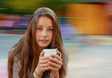 Beautiful girl with cup Stock Image