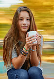 Beautiful girl with cup Stock Photos