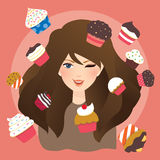Beautiful girl with cup cakes illustration Stock Photos