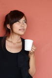 Beautiful girl with cup of coffee Stock Images