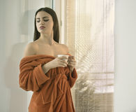 Beautiful  girl with a cup of coffee Stock Photography