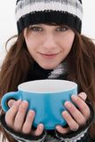 Beautiful girl with a cup in his hand Stock Images