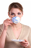 Beautiful girl with a cup of tea Stock Photos
