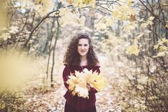 Happy girl in an atumn park holding maple leaves royalty free stock photo