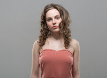 Beautiful girl curly hair portrait Royalty Free Stock Images