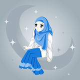 Beautiful girl. A cute girl sitting on the moon in the middle of the stars royalty free illustration