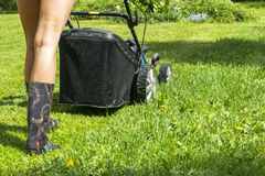 Beautiful girl cuts the lawn, Mowing lawns, Lawn mower on green grass, mower grass equipment, mowing gardener care work tool, clos Stock Image