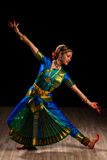 Beautiful girl dancer of Indian classical dance Bharatanatyam Royalty Free Stock Images