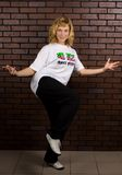 Beautiful girl dancing hip-hop stock image