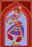 Beautiful girl dancing Indian classical dance. Indian girl dancing on the background ornamented arches Royalty Free Illustration