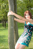 Beautiful girl dancing in the park Royalty Free Stock Photos