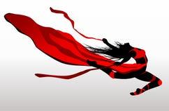 Beautiful girl dancing in red dress. Stock Image