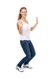 Beautiful girl dancing on a white background Royalty Free Stock Images