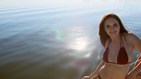 Beautiful girl dancing on a yacht - party and bachelorette party.  stock footage