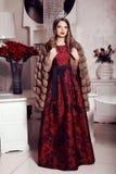 Beautiful girl with dark hair  in elegant dress,fur coat and crown Stock Image