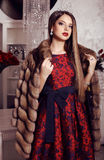 Beautiful girl with dark hair  in elegant dress,fur coat and crown Royalty Free Stock Photography