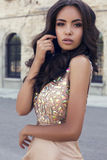 Beautiful girl with dark hair  in luxurious sequin  dress Royalty Free Stock Photos