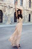 Beautiful girl with dark hair  in luxurious silk dress Stock Photos