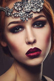 Beautiful girl with dark makeup Royalty Free Stock Photography