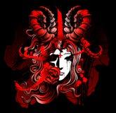 Beautiful girl demon symbolizing death Stock Photos