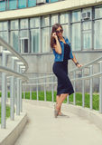 Beautiful girl in a denim suit Royalty Free Stock Photography