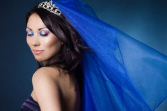 Beautiful girl with diamond crown. And veil Stock Images