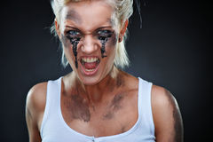 Beautiful girl with dirt on her face Stock Images