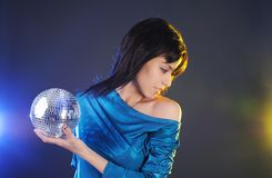 Beautiful girl with disco ball Stock Photography