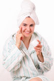 Beautiful girl does morning hygiene Royalty Free Stock Photos